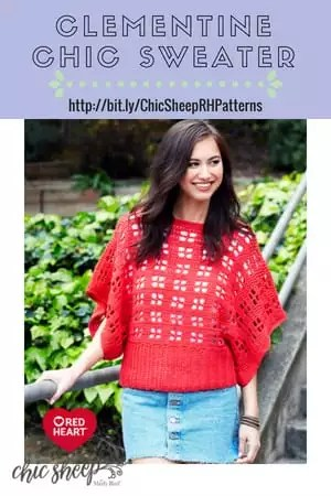 Clementine Chic Sweater-FREE Crochet Pattern with Chic Sheep by Marly Bird