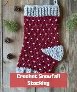 Crochet Snowfall Stocking by Whistle & Ivy