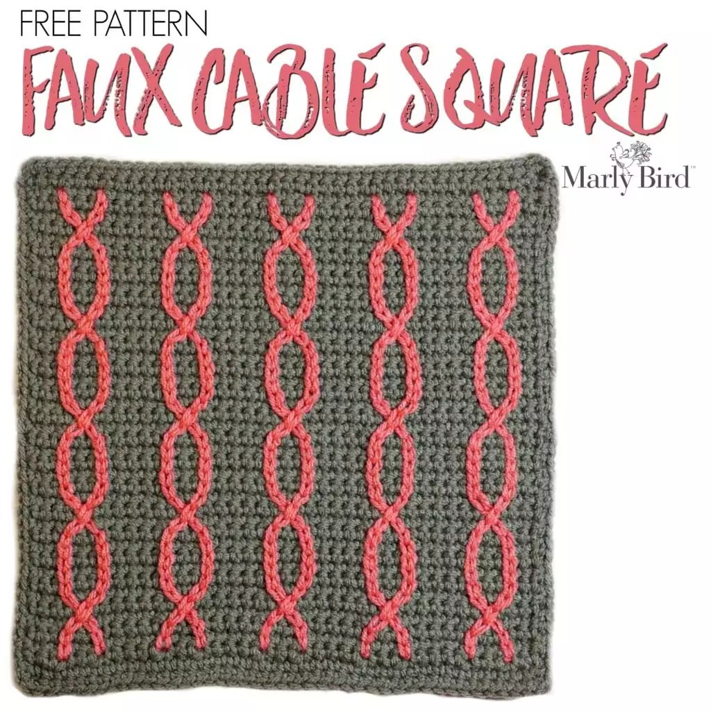 Free Crochet Pattern Faux Cable Square Marly Bird