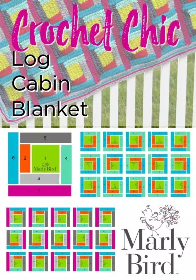 Crochet Chic Log Cabin Blanket by Marly Bird is a Free Pattern on the MarlyBird.com website