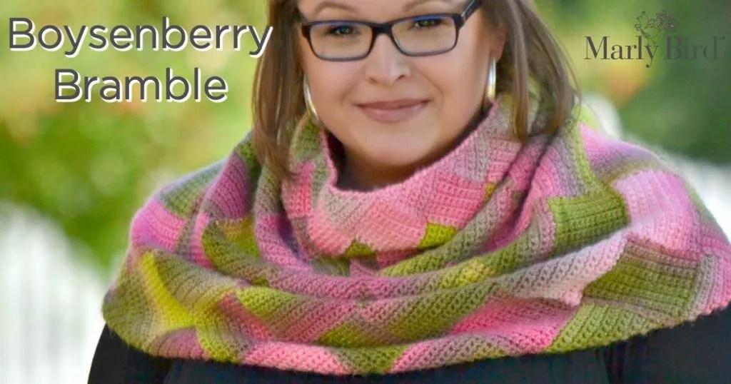 FREE Crochet Pattern-Boysenberry Bramble Crochet Entrelac Cowl