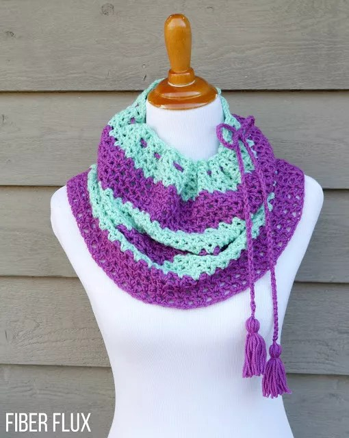 Raspberry Mint Convertible Cowl by Fiber Flux