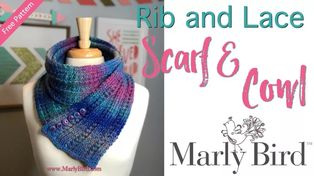 FREE Knit Pattern-Rib and Lace Scarf & Cowl by Marly Bird
