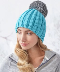 14 FREE Blue Hats Patterns: Easy-Fit Ribbed Pompom Hat