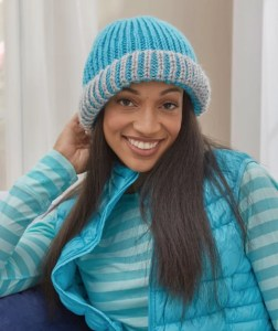 14 FREE Blue Hats Patterns-Brioche Fisherman's Rib Hat