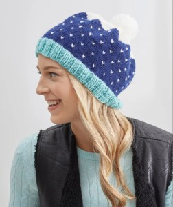 14 FREE Blue Hats Patterns-Snow-Speckled Hat