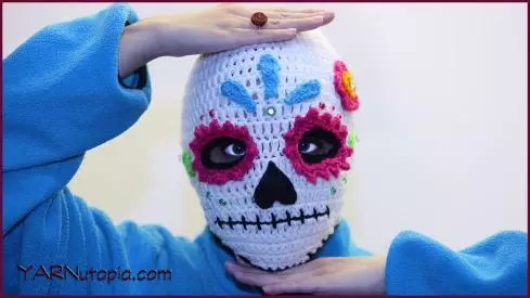 Sugar Skull Ski Mask Designed by YARNutopia