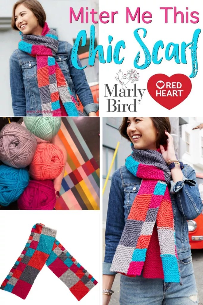 Mitered Squares Video Tutorial with Marly Bird-How to knit the Mitered Me This Chic Scarf