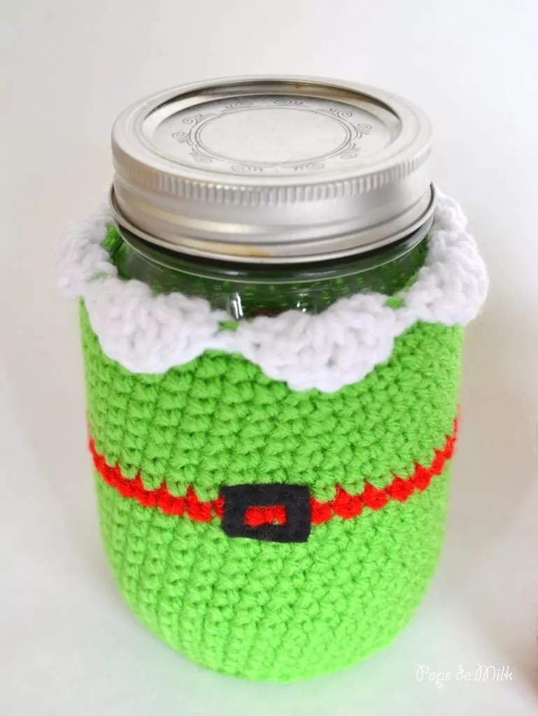 FREE Crochet Elf Mason Jar Cover designed by Pops de Milk