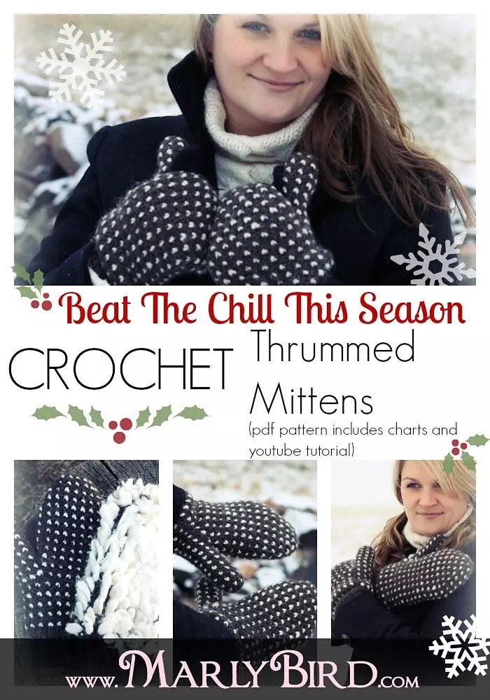Crochet Thrummed Mittens Pattern by Marly Bird using Griddle Stitch (sometimes called the Lemon Peel Stitch). These are wonderfully warm crochet mittens.