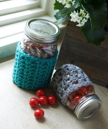 FREE Crochet Jar Cozy designed by Brenda Bourg