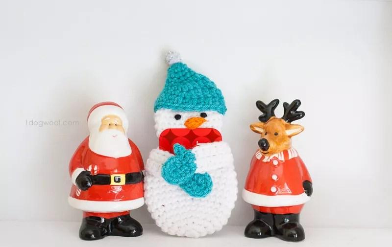 Crochet Gift Card Holder-Snowman Gift Card Holder designed by 1 Dog Wolf