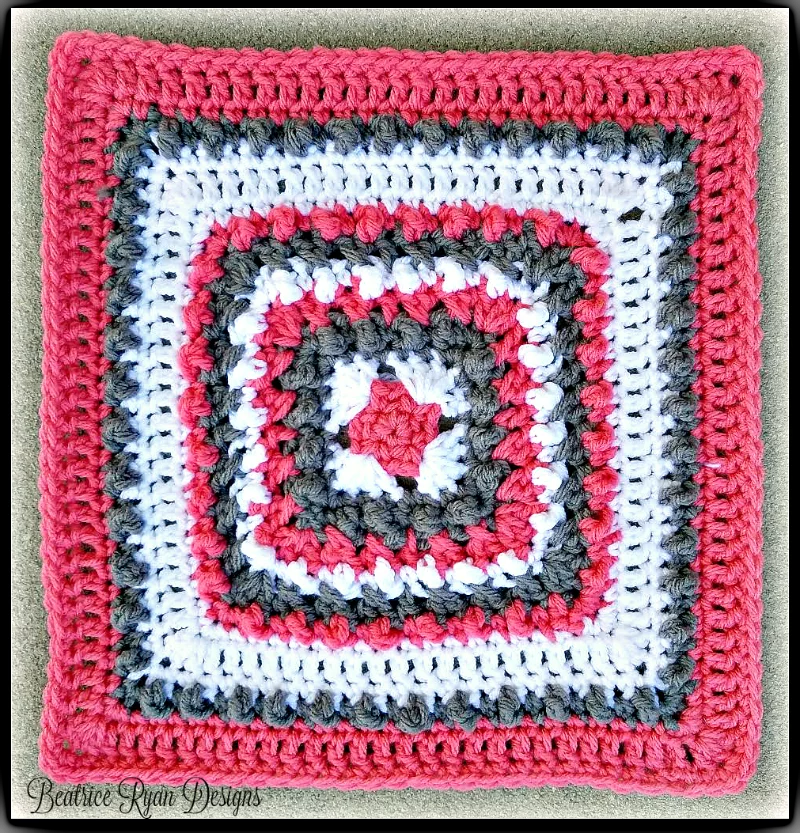 FREE Crochet Coral and Stone Square-using Pantone color of the year Living Coral
