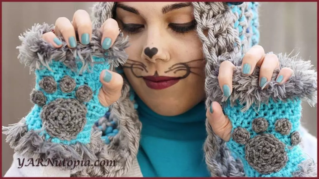Cat Paw Hand Warmers with Fur designed by YARNutopia-free crochet fingerless mitts