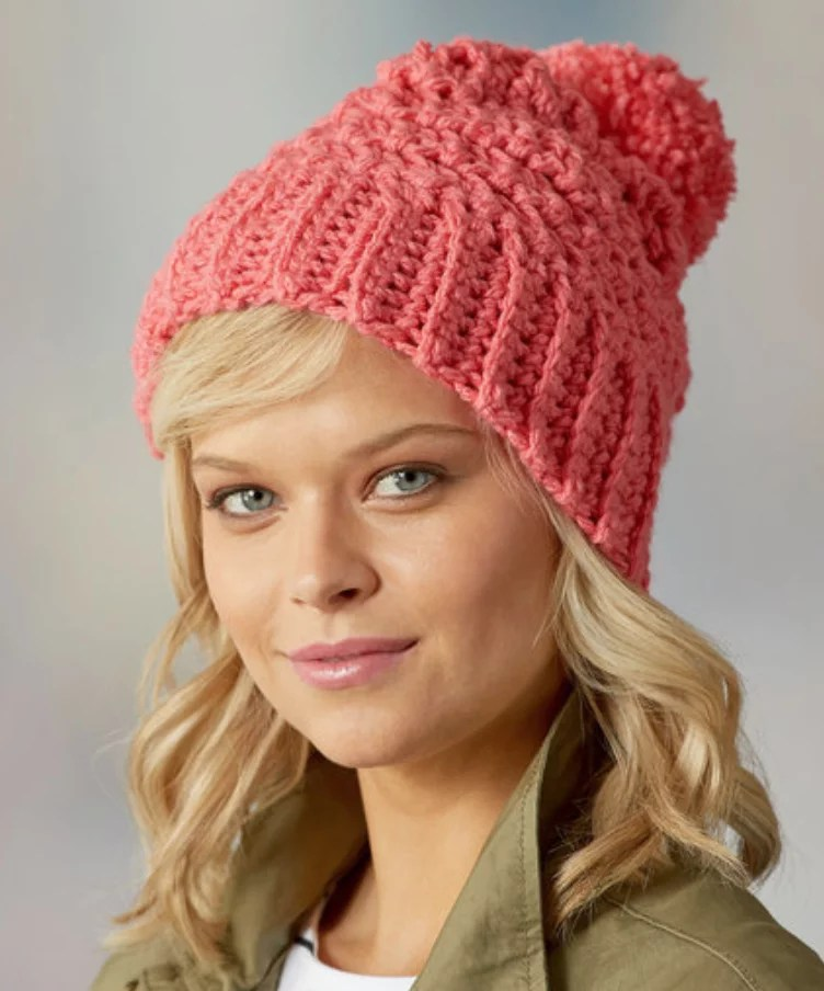 FREE Crochet Hat-Cute Crochet Hat-Using Pantone color of the year Living Coral