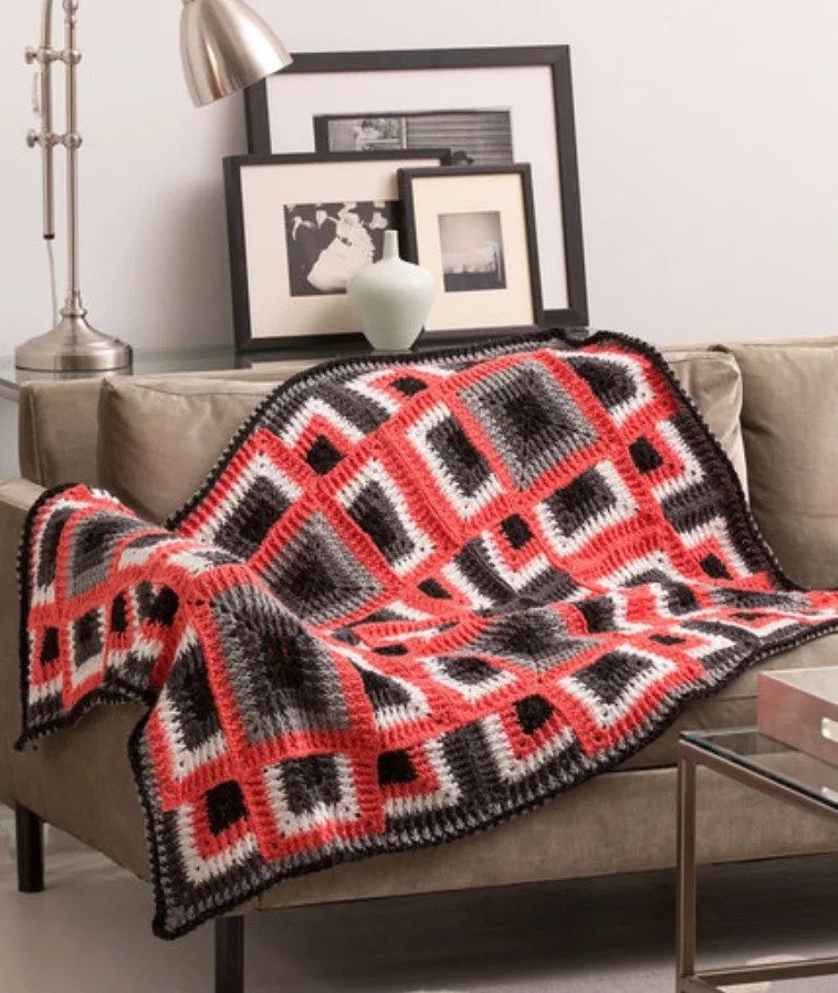 FREE Crochet Dynamic Squares Throw-Pantone color of the year Living Coral