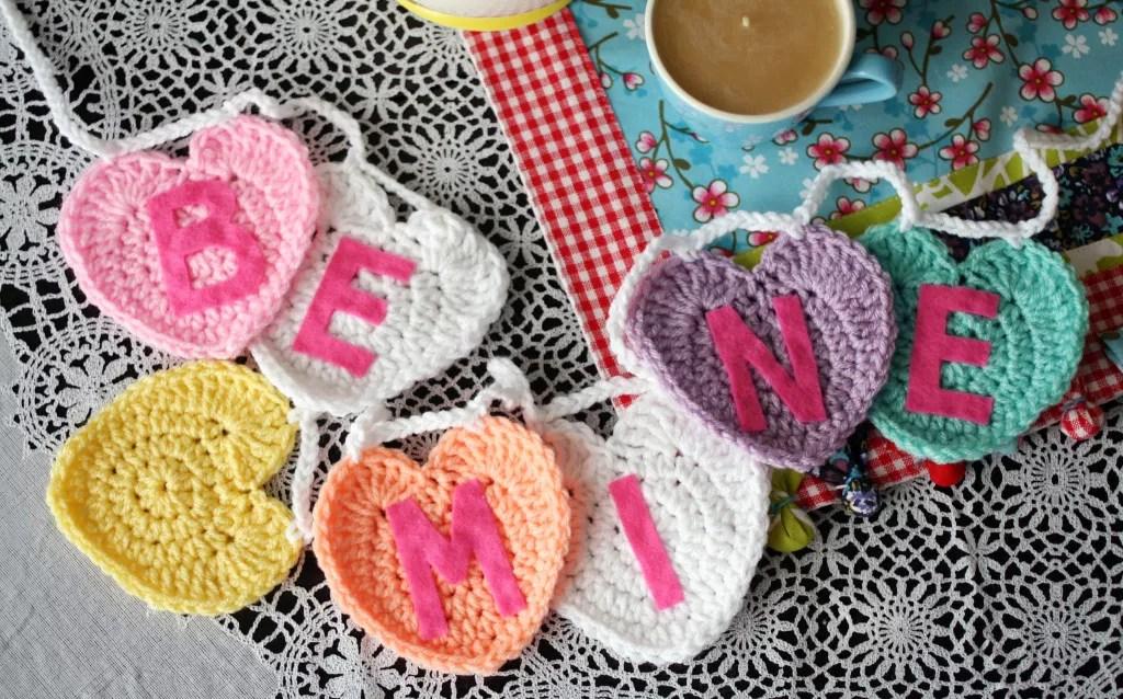 FREE Crochet Conversation Hearts Garland
