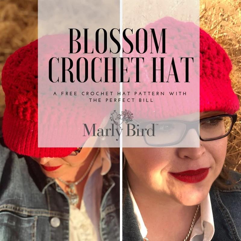 FREE Crochet Blossom Hat-Crochet hat with perfect bill