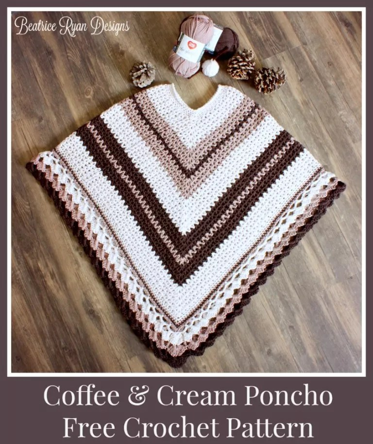 Beatrice Ryan Designs-Coffee and Cream Poncho-Chic Sheep Yarn-Chic Sheep FREE Patterns