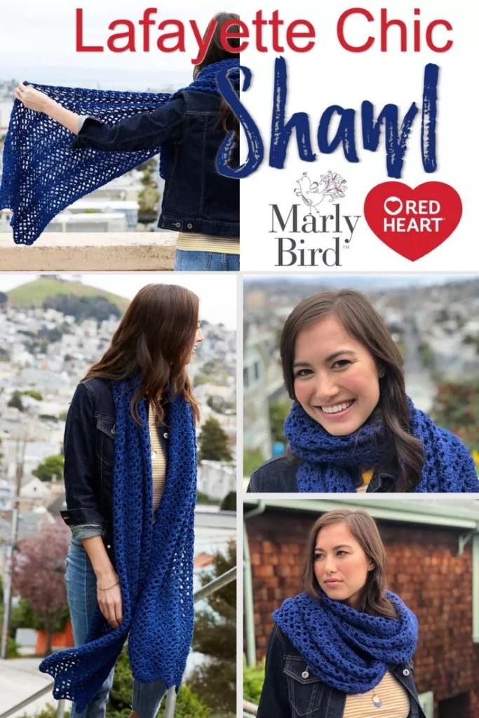 FREE Crochet Shawl-Beginner Crochet Shawl-Lafayette Chic Crochet Shawl