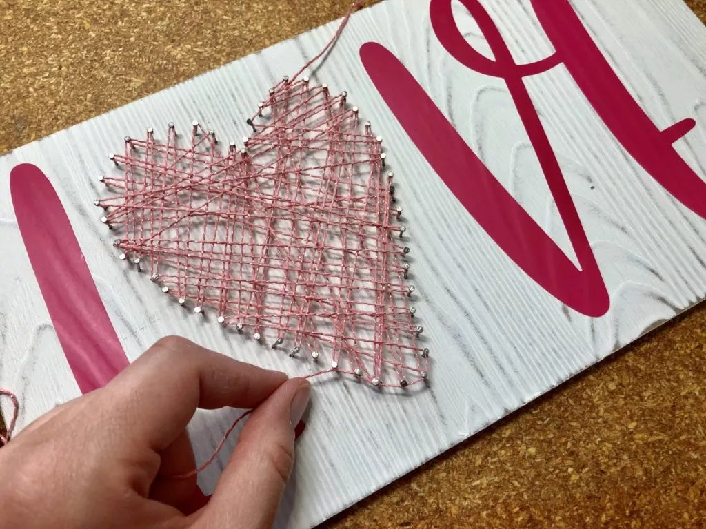 Mother's Day Yarn Project-Mother's Day String Art -Finishing String Art