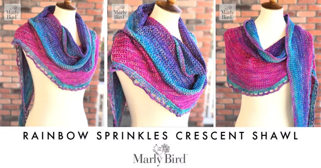 FREE Rainbow Sprinkles Crescent Crochet Shawl