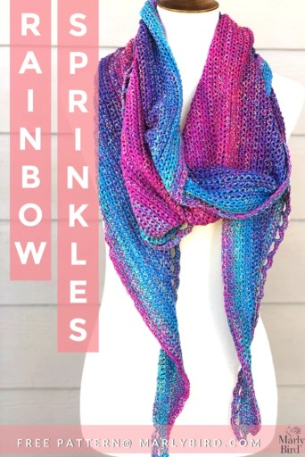 FREE Pattern from Marly Bird-Crochet Rainbow Sprinkles Shawl