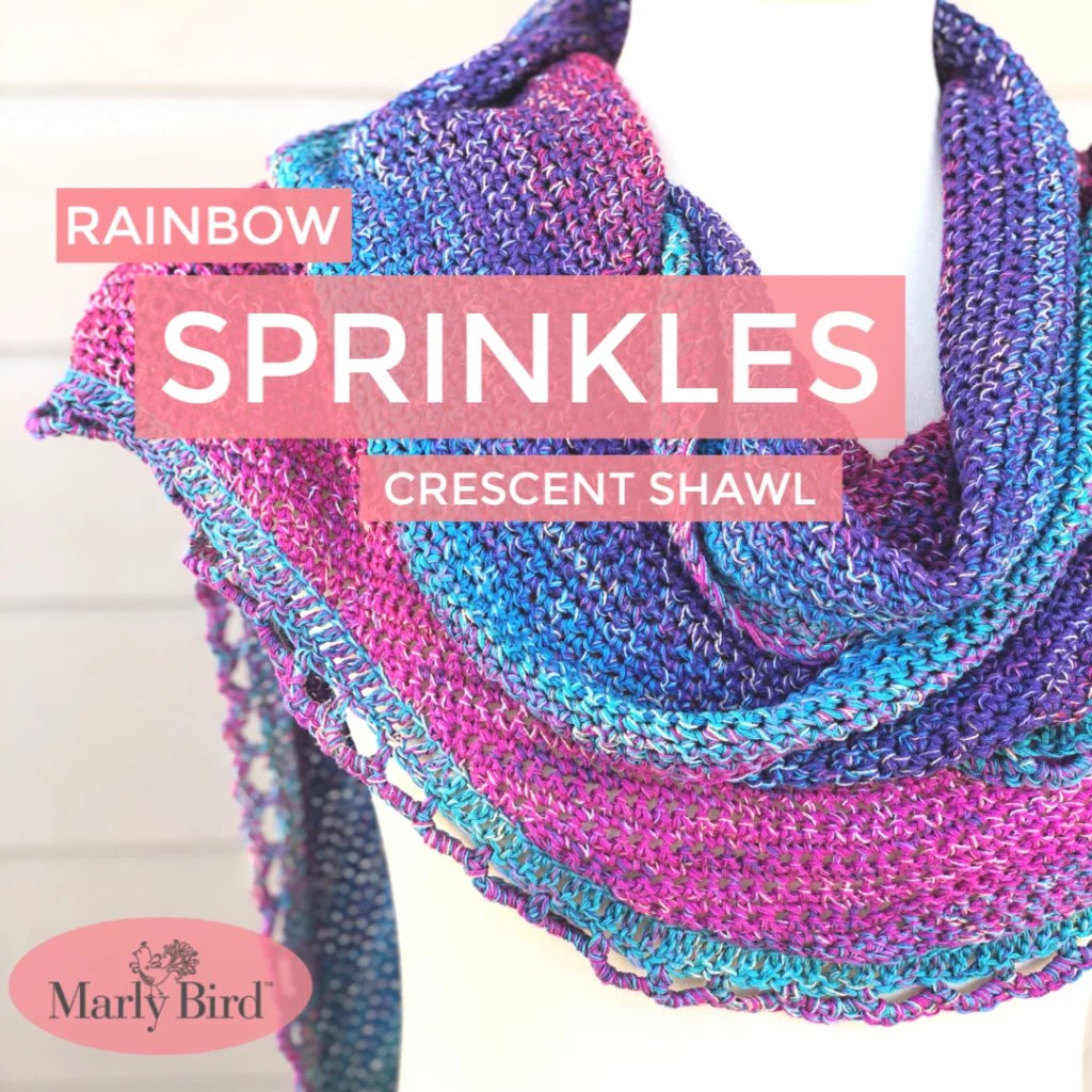 Rainbow Sprinkles Crescent Shawl by Marly Bird -- Free Crochet Pattern