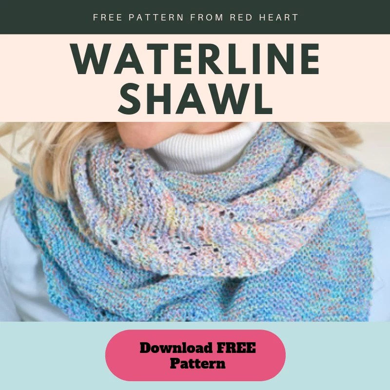 Download the FREE Waterline Lace Knit Shawl from Red Heart