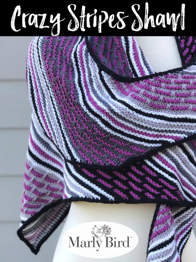 Crazy Stripes Shawl: Crescent Garter Stitch Knit Shawl by Marly Bird