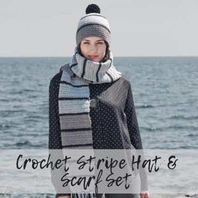 Crochet Striped Hat & Scarf Set