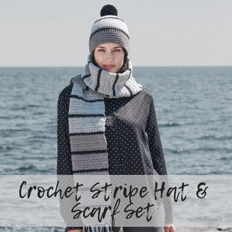 FREE Pattern from Yarnspiration Crochet Striped Hat & Scarf Set