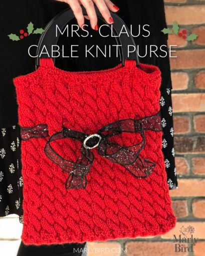 Mrs. Claus Purse with Knit Cables | Free Knitting Pattern by Marly Bird
