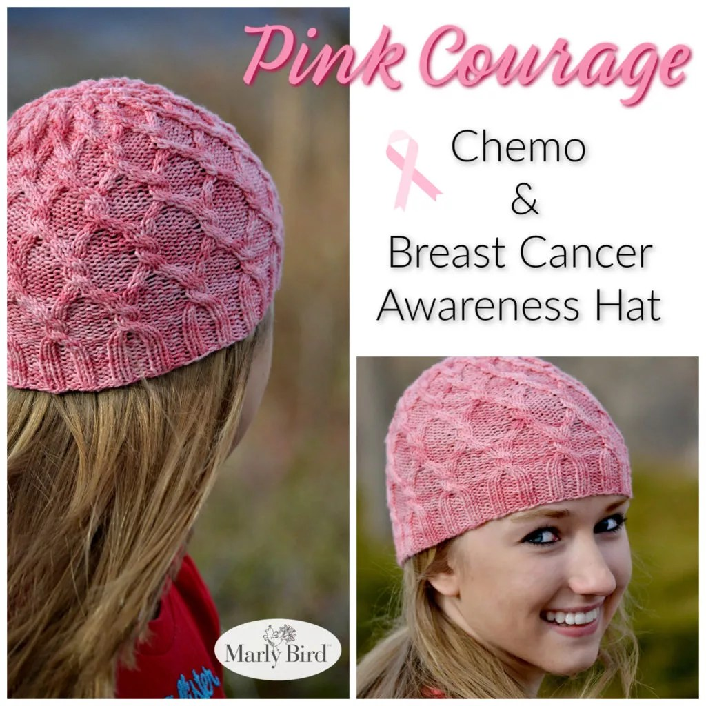 Pink Courage Chemo and Breast Cancer Awareness Hat Pattern | Free Knit Hat Pattern by Marly Bird