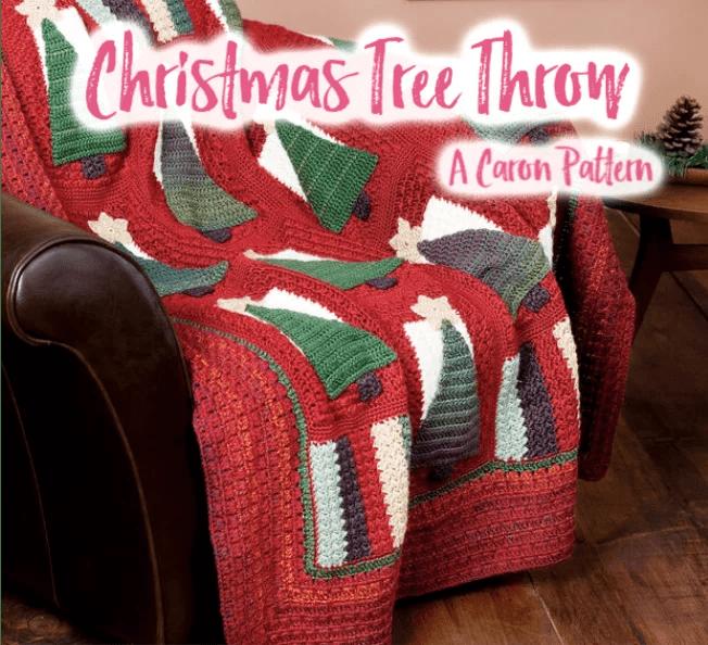 FREE Crochet Christmas Tree Throw pattern