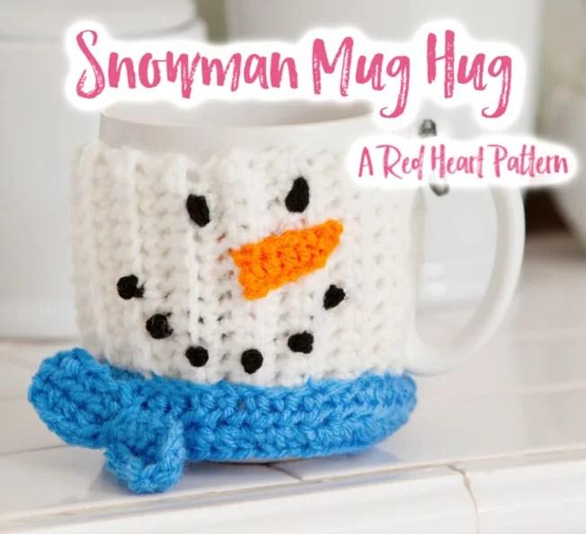 FREE crochet snowman mug cozy pattern