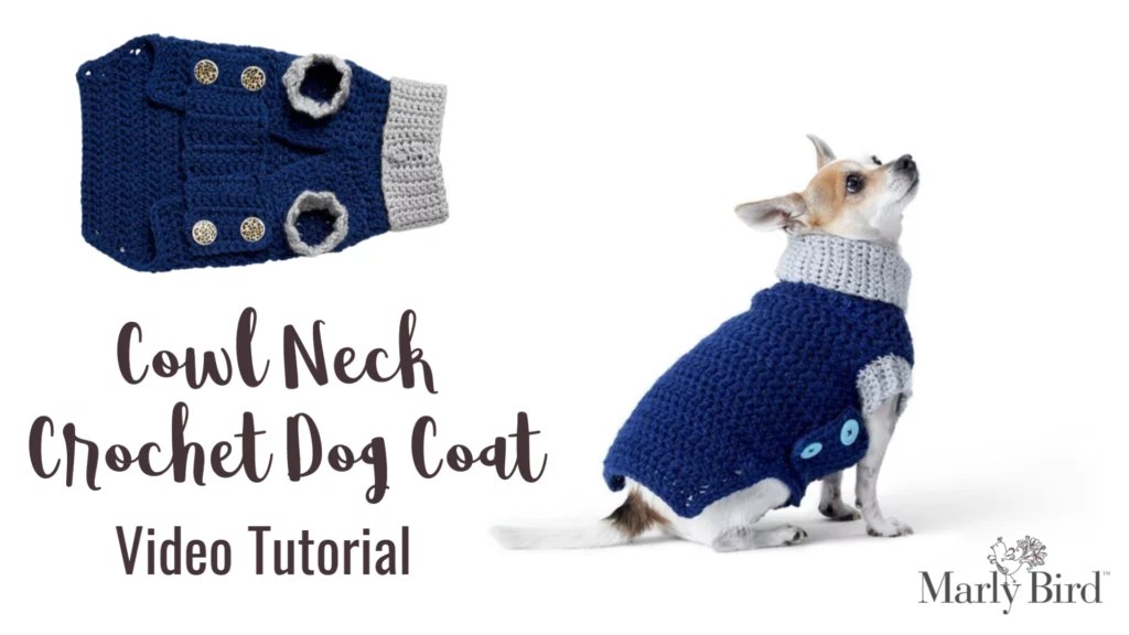 Download the FREE pattern from Yarnspirations for the Cowl Neck Crochet Dog Coat