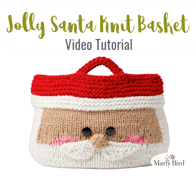 Download the FREE Jolly Santa Knit Basket Pattern from Yarnspirations