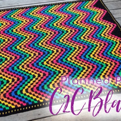 Corner to Corner Planned Pooling Crochet Chevron Throw Blanket