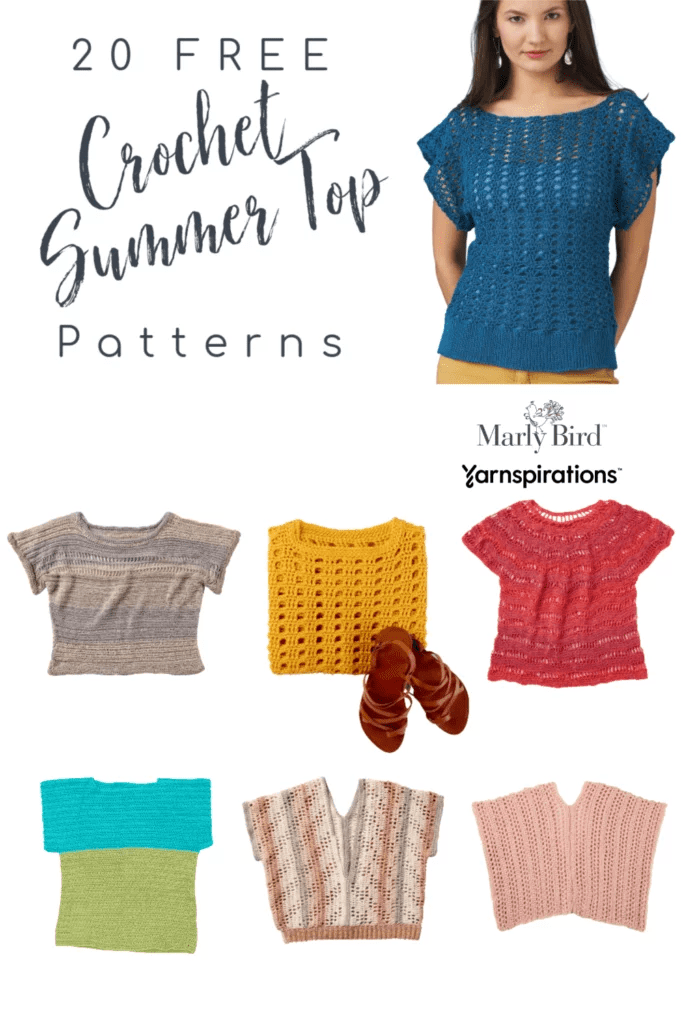 20 FREE Crochet Summer Tops Round up