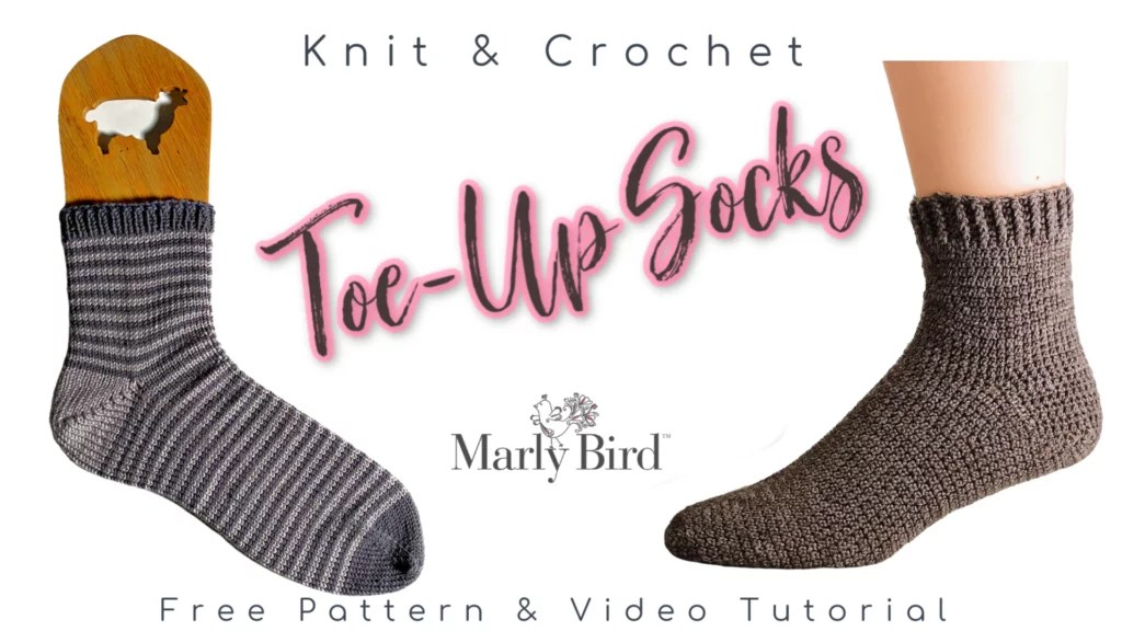 image of knit and crochet toe up socks on sock form. Free Pattern and Video Tutorial on marlybird.com