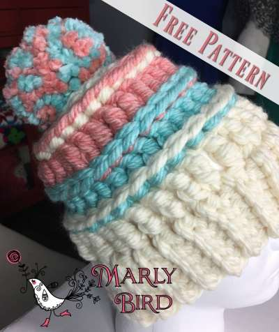 Chunky Monkey Bulky Hat: Free Bulky Crochet Messy Hat Pattern by Marly Bird