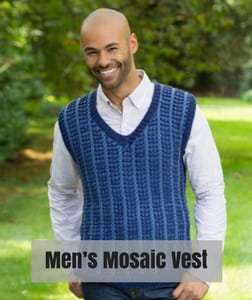 Red Heart Knit Father's Day Patterns-Men's Mosaic Vest