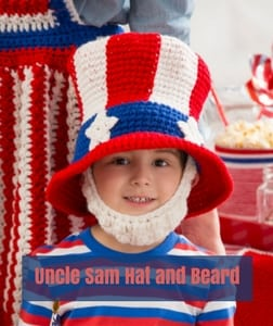 Uncle Same Hat and Beard Free Patriotic Crochet Pattern from Red Heart