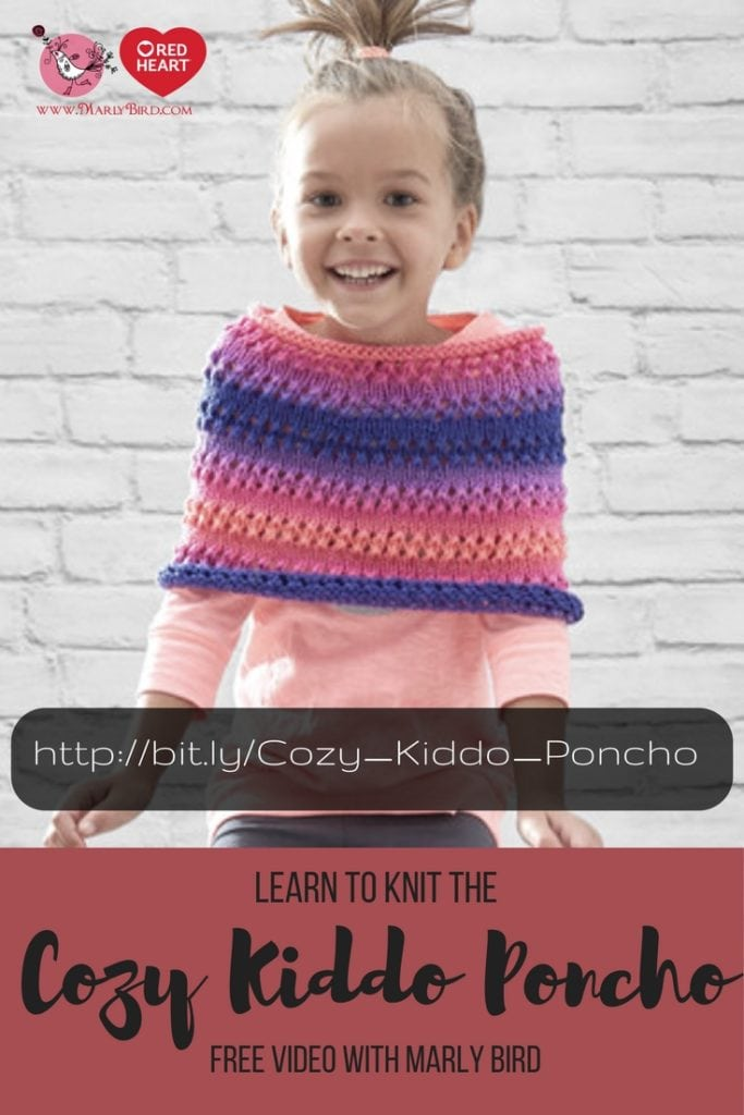 Red Heart Cozy Kiddo Poncho Free Pattern and Video Tutorial with Marly Bird