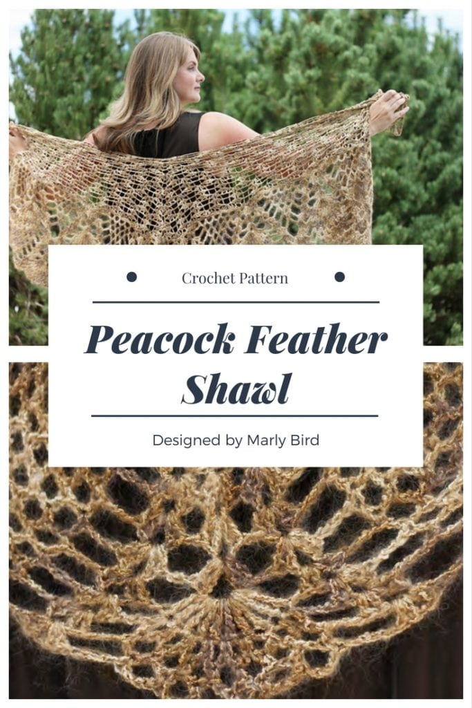 Peacock Feather Crochet Shawl by Marly Bird