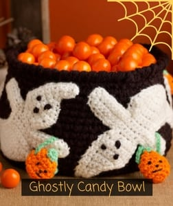 Ghostly Candy Bowl Free Pattern from Red Heart