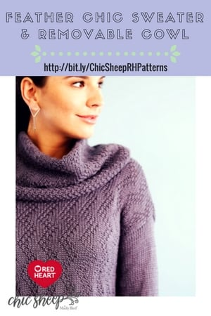 Feather Chic Sweater & Removable Cowl Knit Sweater with Chic Sheep by Marly Bird