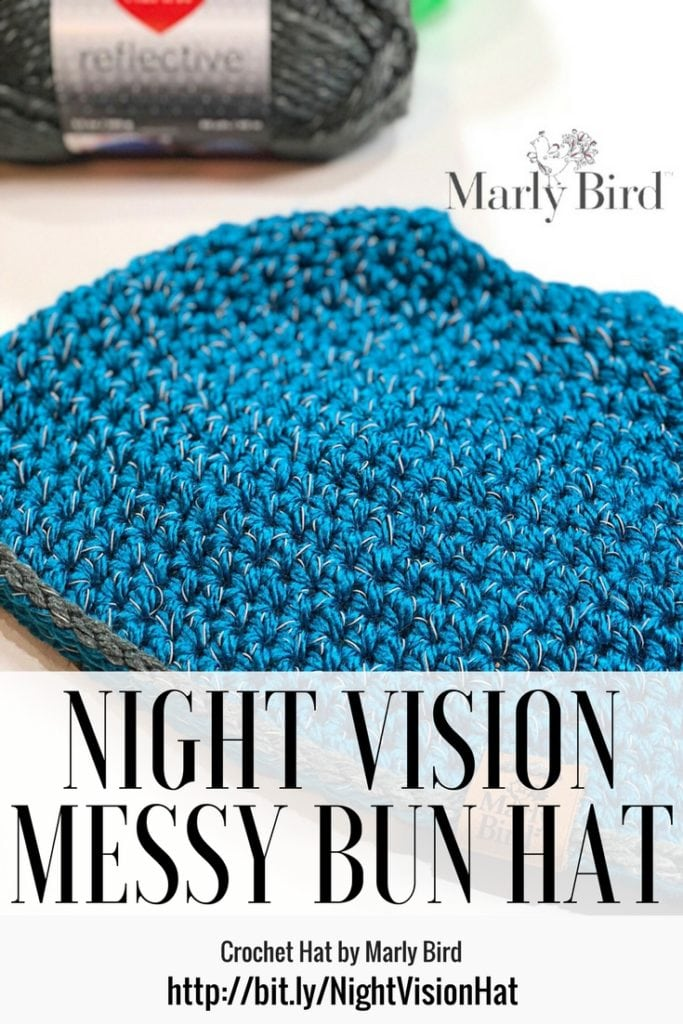 Night Vision Crochet Messy Bun Hat