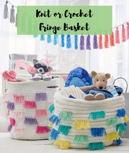 Knit or Crochet Fringe Basket